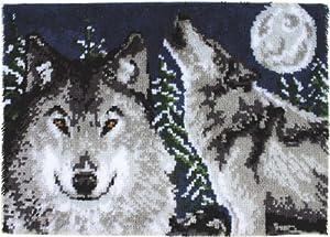 Caron Wonderart Latch Hook Kit 27 Inch X40 Inch - Midnight Wolves