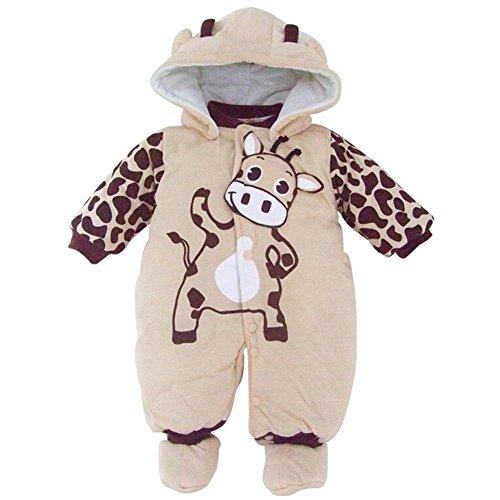 Minetom Bambino Unisex Jumpsuits Caldo Pagliaccetto Incappucciato Abbigliamento Per Bambini Beige 4-6 Mesi