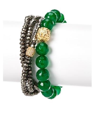 Sisco + Berluti Pyrite Triple Wrap & Green Jade Bracelet Stack As You See