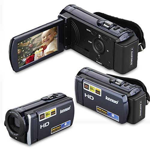 KENUO HD 1080P 16MP Digital Video Kamera 3,0 Zoll 16:9 LCD Screen 16x Zoom DV Camcorder Blau