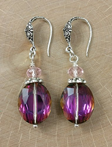 A Pair of Fuchsia Pink Purple Oval Crystal Earrings and Light Pink Faceted Crystals with Antique Silver Floral Earwires