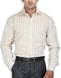 SPEAK Yellow Checks Cotton Formal Mens Shirt Regular Fit