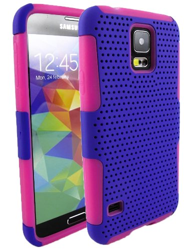 Mylife (Tm) Indigo And Bright Pink - Perforated Mesh Series (2 Layer Neo Hybrid) Slim Armor Case For The New Galaxy S5 (5G) Smartphone By Samsung (External Rubberized Hard Shell Mesh Piece + Internal Soft Silicone Flexible Gel + Lifetime Warranty + Sealed