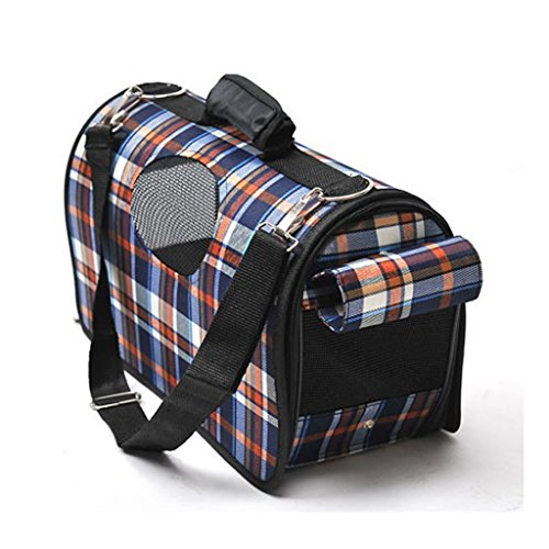 E-ONSale® Plaid Pet Outdoor Carrier Soft Sided Cat / Dog Comfort Travel Bag (Blue Plaid – M)
