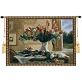 "Beautiful Tulips 31""Wx22""L Jacquard Woven Wall Hanging Tapestry Art Decor"