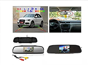 PONPY 4.3 TFT Color LCD Screen 2 Video Input Car Rear View Mirror Monitor Vehicle Parking In-mirror Monitor for DVD/VCR/Car Reverse Camera
