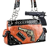 Orange Six-Shooter Conceal and Carry Purse with Rhinestones