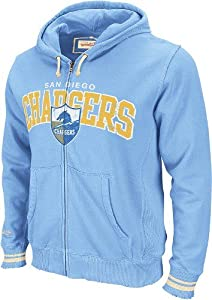 San Diego Chargers Mitchell & Ness Vintage Light Blue Full Zip Hooded Sweatshirt by Mitchell & Ness