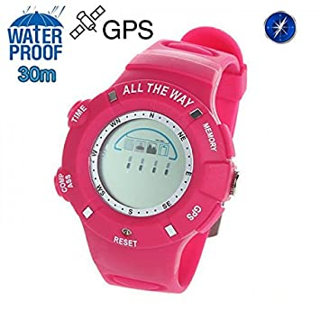 Montre GPS Waterproof boussole thermomètre mémoire 20 positions Rose