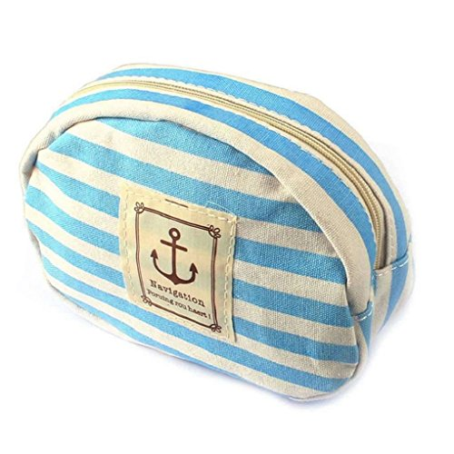 DAYAN Stripe Pencil Case Pouch Purse Maquillage Cosmetic Bag students stockage Papeterie Zipper le portefeuille Couleur Bleu