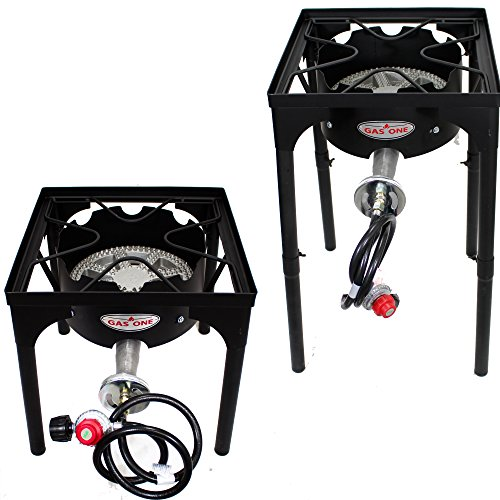 GAS ONE Portable Propane 200,000-BTU High-Pressure Single-Burner Outdoor Camp Stove with Adjustable Legs and CSA Listed 0-20PSI High Pressure Regulator and Hose (Gas Burners For Stove compare prices)