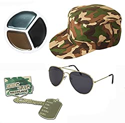 Army Fancy Dress Camouflage Hat Dog Tags Gold Aviators Face Paint Mens Ladies Unisex