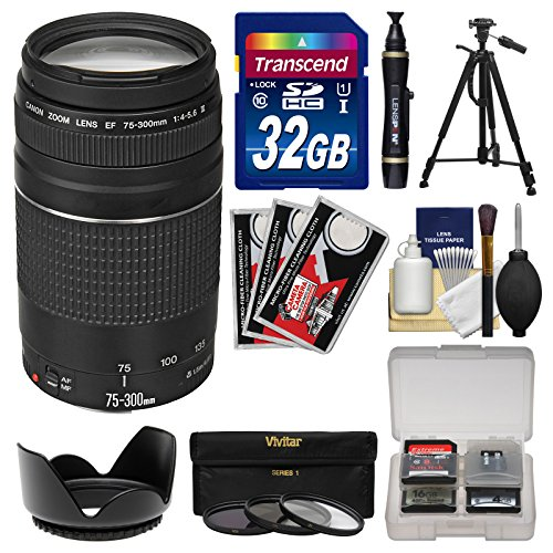 Canon EF 75-300mm f/4-5.6 III Zoom Lens with 32GB Card + Tripod + 3 Filters + Hood Kit for EOS 5D Mark II III, 6D, 7D, 70D, Rebel T3, T3i, T5, T5i, SL1 Cameras (Lens Hood 75mm compare prices)