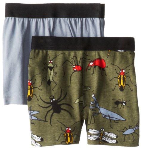Hatley Little Boys' Kids 2 Pack Boxers - Fun Bugs, Green, 5 front-944810