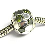 Sterling Silver Round Football Soccer Cz Bead For European Charm Bracelets
