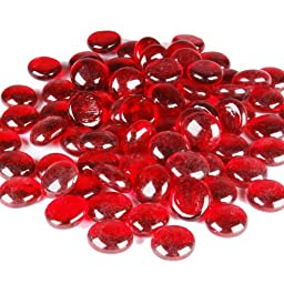 CYS Vase Filler Flat Gem Stones Table Scatters, Red, 1 lbs per bag (24 bags). Approximately 2,600 pcs per case