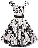 Pretty Kitty Fashion 50s White Black Floral Swing Tea Dress