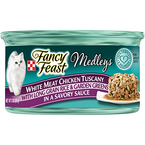 Purina Fancy Feast Wet Cat Food, Elegant Medleys, White Meat Chicken Tuscany in a Savory Sauce with Long Grain Rice and Garden Greens, 3-Ounce Can, Pack of 24 (Fancy Feast Meat compare prices)