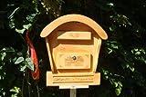 Hbk-Rd-Tan Post Box with Wooden Decoration XXL CM Light Brown with BLAU001 Wooden Roof for Garden Garage entry Holzhäuser innen