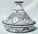 Le Souk Ceramique Cookable Tagine, Black and White Sabrine Design