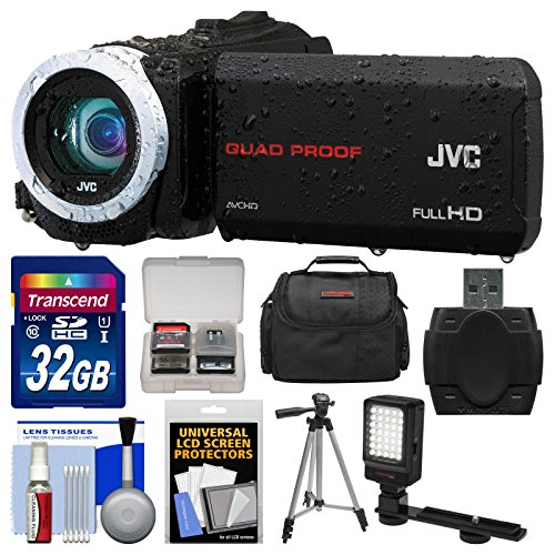 Jvc Everio Gz-R10 Quad Proof Full Hd Digital Video Camera Camcorder (Black) With 32Gb Card + Case + Led Light + Tripod + Kit