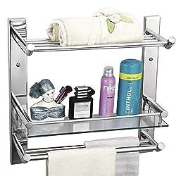 Cipla Plast Bathroom Glass Shelf with Towel Rack & Double Rods - Global 223G + Free 14 Pcs Multipurpose Buffers - BRC - 223G