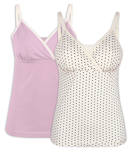 Intimate Portal Women Gaia Nursing Cami Tank Breastfeeding Tops 2-Pk Pink White Large