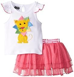 Mud Pie Baby Girls\' Ruffled Lion Top with Tutu Skirt, Multi, 12 18 Months