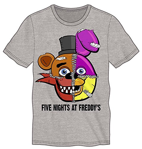 Five Nights At Freddy's Split Faces Adult Grey T-shirt Licensed (Large)