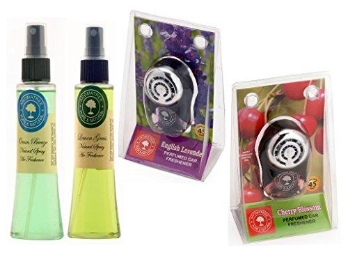 Aromatree Air Fresheners (Ocean Breeze 75 ml, Lemon Grass 75 ml, English Lavender 10 ml, Cherry Blossom 10 ml) PACK OF 4