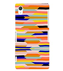 PrintVisa Color Block Pattern 3D Hard Polycarbonate Designer Back Case Cover for Sony Xperia Z2