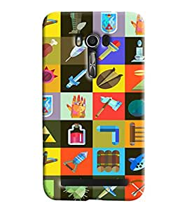 Blue Throat Different Tools In Square Printed Designer Back Cover For Asus Zenfone 2 ZE550KL