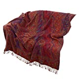 High Quality Wool, Paisley Designs Throw, Vibrant Earthy Colors,223 x 142 cmby ShalinIndia