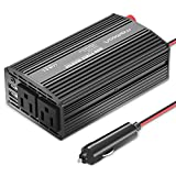 Maxboost 300W Power Inverter Dual 110V AC Outlet + Two 2.4A/24W USB Smart Ports Car Charger [Aluminum Body] DC 12V to 110V AC + DC 5V USB Battery Charger for laptop,iPad,iPhone,Tablet,phone