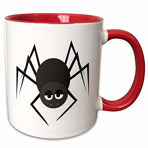 3dRose Janna Salak Designs Halloween - Cute Halloween Spider - 11oz Two-Tone Red Mug (mug_242326_5) (Cute Halloween Pic)