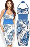Womens Ladies Celeb Amy Childs Bluebelle Floral Halter Neck Bodycon Midi Dress -FLOWER PRINT -UK 14 (95% POLYESTER 5% ELASTANE)