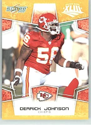2008 Donruss - Score Limited Edition Super Bowl XLIII Gold Border # 158 Derrick Johnson - Kansas City Chiefs - NFL Trading Card