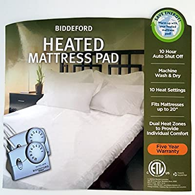 Biddeford Queen Electric Mattress Pad with 2 Controllers, 10 Settings ad 10 Hour Auto Shut Off