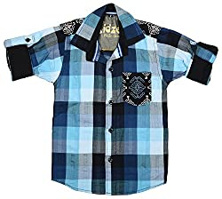 CAY 100% Cotton Blue Color Designer Block Checks shirt (Size:S)