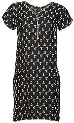 Anshul Textile Women's Rayon Regular Fit Kurta (Black)
