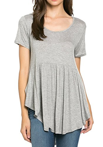 My Space Clothing Women's Front Pocket Knit Tunic Top (Large, Heather Grey) (Babydoll Tops For Women compare prices)