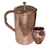 Prisha India Pure Copper Jug Pitcher 2250 Ml With Kalash 'Lota' For Ayurveda Healing
