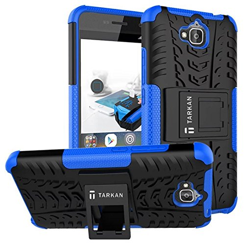 TARKAN Hard Armor Hybrid Rubber Bumper Kick Stand Back Case Cover For Huawei Honor Holly 2 Plus [Blue]