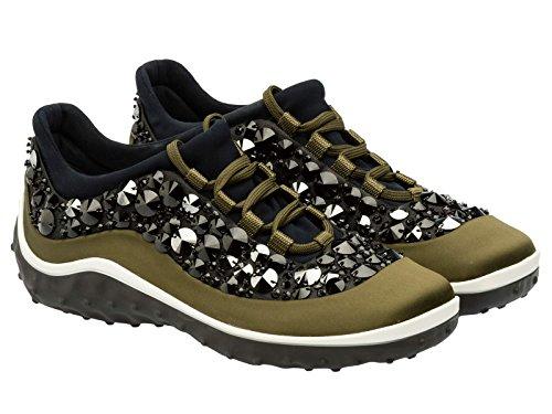 Sneakers Miu Miu donna in tessuto color Mimetico - Codice modello: 5E9848 3H05 F099H - Taglia: 40 IT