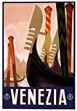 T1 Vintage 1920's Italian Venezia Venice Gondola Italy Travel Poster Re-Print Reproduction Print Card - A5 (148mm x 210mm)
