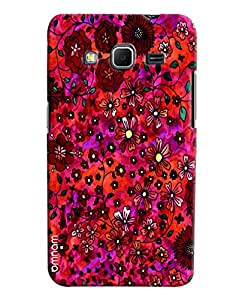 Omnam Red Flower Pattern Printed Designer Back Cover Case For Samsung Galaxy Core Prime
