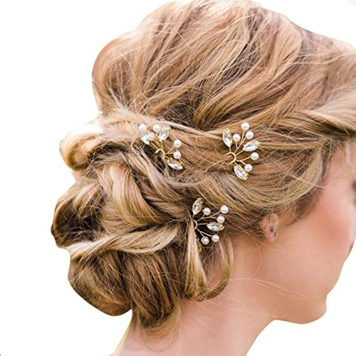 Missgace Bridal Handmade Crystal Hair Pins Clips for Women Hair Styling (3 Pcs)