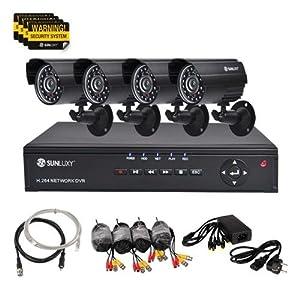 SUNLUXY® 4 Kanal CCTV H.264 DVR 4 HD 600TVL Wasserdicht IR Nachtsicht Sicherheit kamera Video Überwachungssystem Set