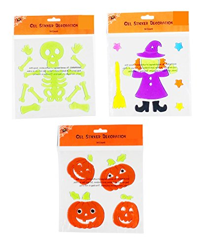 Halloween Smiling Window Gel Clings for Kids and Classrooms (Witch, Skeleton, Pumpkins) ()