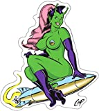 Sexy Martian Alien Woman on Rocket with Ponytail - Sticker / Decal with Clear Background